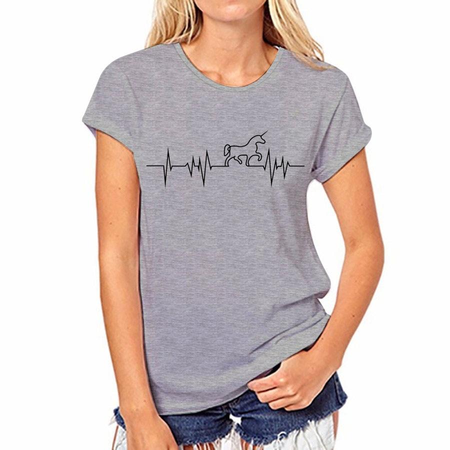 17 couleur D'été T-shirt Sexy Femmes Casual Tops Coton T-Shirt Harajuku Shirts Licorne O-cou À Manches Courtes Tops T-shirt Femelle 36