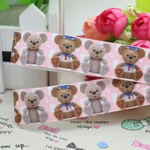 7/8'' Free shipping plaid bear cartoon printed grosgrain ribbon hairbow diy party decoration wholesale OEM 22mm P2377
