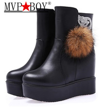 MVP BOY Autumn Winter new style woman's boots fox belt buckle thick soled combat fur snow boots women Warm Shoes black brown(China)