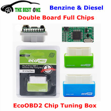 Original Full Chips Eco OBD2 Chip Tuning Box Plug & Driver EcoOBD2 For Benzine / Diesel Cars Green / Blue Color 15% Fuel Save(China)