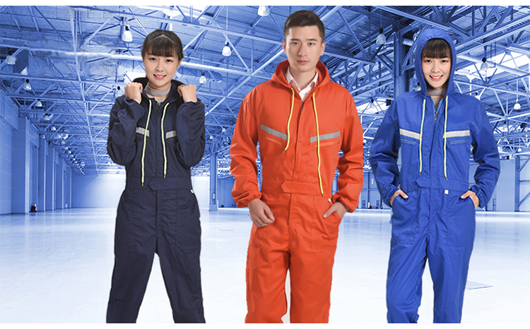 Men Women Coveralls Long Sleeve Hooded Reflective strip Overalls Auto Repair Engineering Spray Paint Workwear Working Uniforms (2)