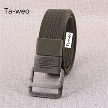 Men's Military Equipment Tactical Polyester Belt Bicyclic Buckle Canvas Belts for Men High Quality Designer Brand Belt
