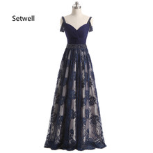 Setwell Vintage Elegant Evening Dresses 2017 Charming V-Neck Backless Evening Dress Luxury Beading Lace Evening Gowns