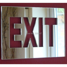 1 set Mirror acrylic EXIT the emergency EXIT sign mirror wall stickers Door indication sign(China)
