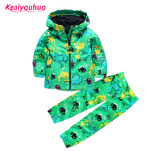 Children clothing set Boys girls Clothing sets Spring Autumn 2-6year Hooded raincoat+pants Waterproof Costume Kids Clothes(China)