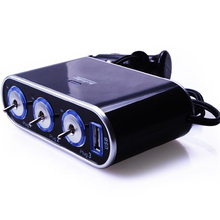3-Way Triple Led Car Cigarette Lighter Socket Splitter Charger Power Adapter+ USB Independent switch red blue light display