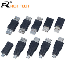 10PCS Full Set USB connector male to female Micro OTG MINI OTG adapter sells in bulk RICH TECH micro usb connector(China)