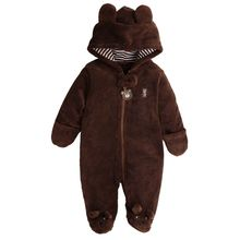 Newborn Baby Rompers Polar Fleece Baby Girls Clothes Pure Color Infant Jumpsuit Thick Roupas Bebe Winter Hooded Baby Boy Romper(China)