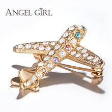 Angel Girl New Trendy Design Plane Brooch Pin Champagne Gold Color Jewelry Austrian Crystal Brooches Wholesale BR13