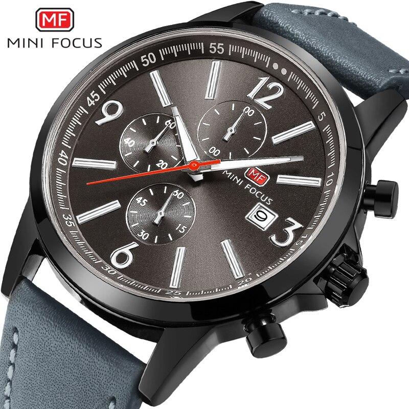MINIFOCUS Top Brand Mens Watches Luxury Quartz Watch Waterproof Chronograph Military Sport Watch Men Leather relogio masculino<br>