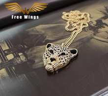 Tiger Necklace Rhinestone Head Leopard Necklaces Pendants Vintage Retro long necklace Women Jewelry