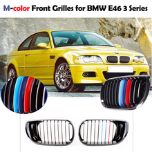 Car-styling 2Pcs Black M-color Front Kidney Grille for BMW E46 4 Door 3 Series Facelift Saloon 2002-2005(China)