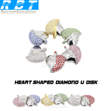 RBT USB Flash Drive Real Capacity New Jewelry Crystal Love Heart 8GB 16GB 32GB Memory Usb Stick 2.0 Pen Drive Pendrive For PC