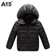 A15 Children Outerwear Warm Coat 2018 Girl Down Spring Autumn Winter Hooded Toddler Teenage Jackets for Boys Age 3 10 12 14 16 Y(China)