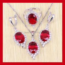 Magnificent Red Garnet Jewelry Set For Women 925 Sterling Silver Crystal Rings/Earrings/Necklace Free Shipping 0068