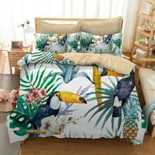 Luxury Toucan Mandala Peacock Bedding Set 2/3pc Printed Bohemia Duvet Cover Linens Pillowcase Bed Cover bedding Set Queen c(China)