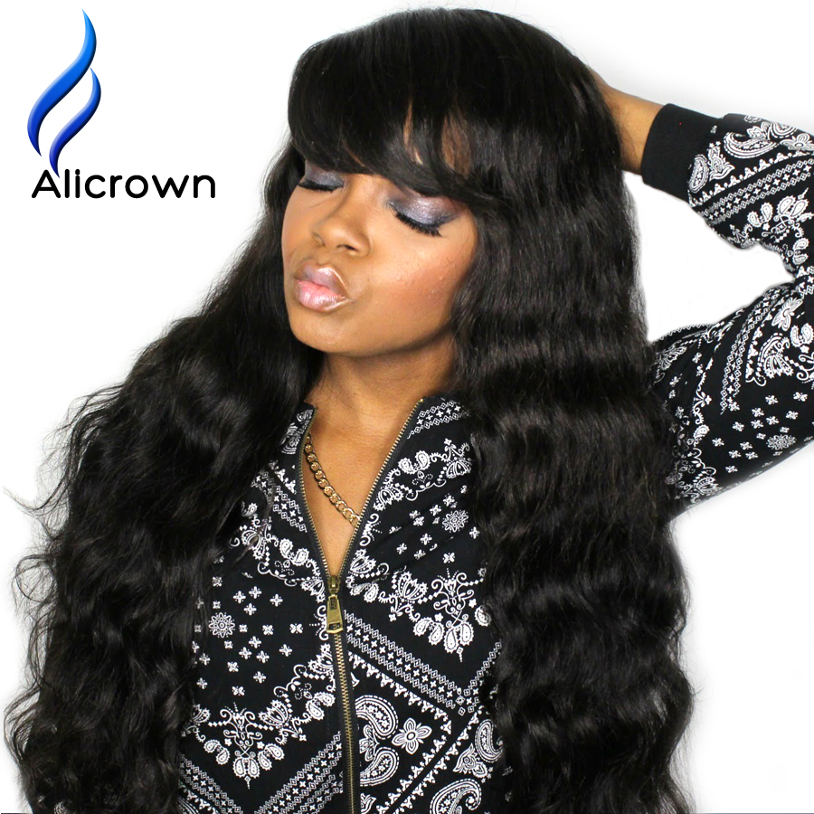 ALICROWN Glueless Full Lace WigsWavy  Brazilian Lace Front Wigs Deep Wave Wig With Bangs Human Full Lace Hair Wigs With Bangs<br><br>Aliexpress