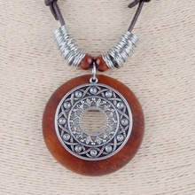 New Vintage Long Necklace Fashion Bohemia Jewelry Adjustable Brown Rope wooden Alloy Pendant Necklaces Women Sweater Chains