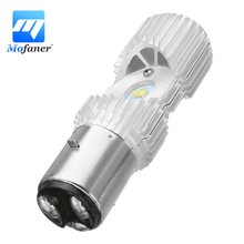 New 4 LED Scooter BA20D 20W Motorcycle Moped ATV Headlight Bulb  Hi/Lo 6000K Motorbike Head Lamp