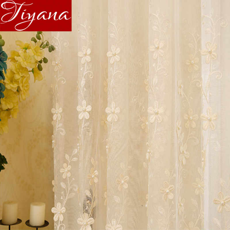 Pearls Embossed Embroidered Sheer Voile Window Curtains European Luxury Living Room Bedroom Curtains Tulle Fabrics T&362#20