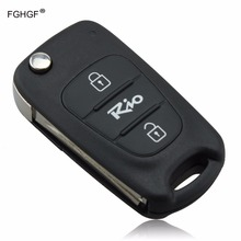 FGHGF 3 Buttons Car Replacement Flip Folding Key Shell Blank Remote Fob Case For Kia Rio with LOGO