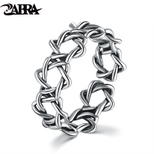 ZABRA 925 Sterling Silver 7mm 1.5 Gram Weaving Hollow Beautiful Women Small Ring Vintage Retro Real Solid Silver Women Jewelry