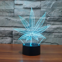 New 3D LED Table Lamps marijuana Leaf Night Lamp LED NightLight Acrylic Colorful Gradient Atmosphere Lamp Best Gifts promotion(China)