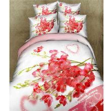 Home Textiles 100% Cotton 3D Bedclothes 4pcs Bedding Sets  King Or Queen Pink Beauty