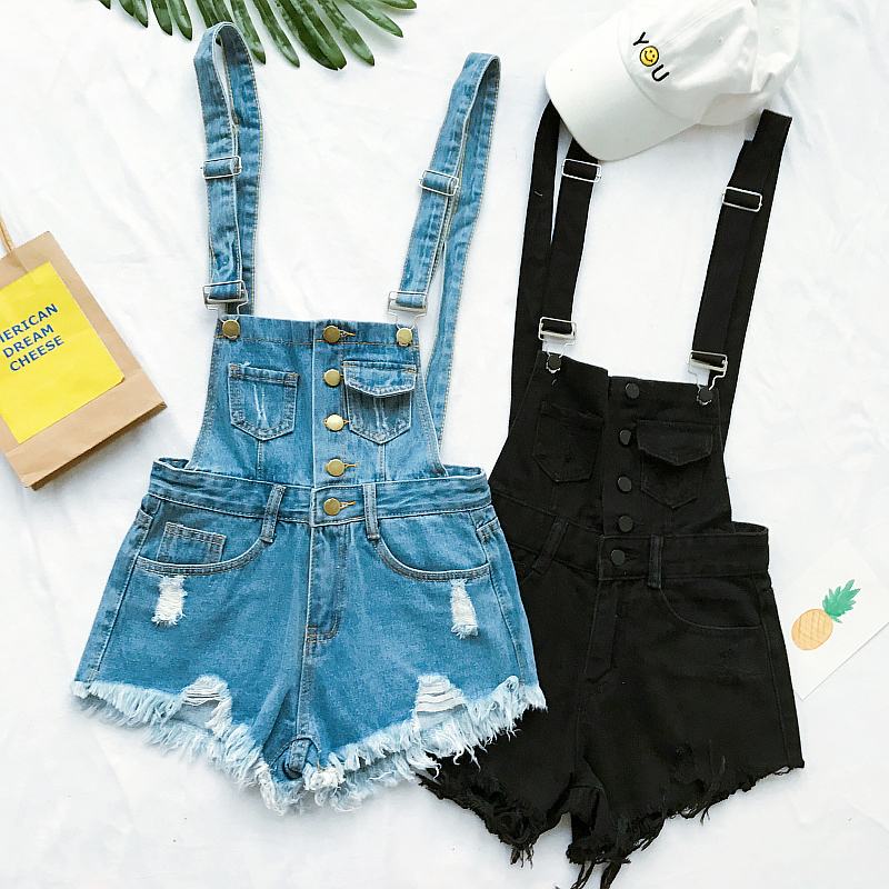 New Collection Summer Korean Loose Women Denim Jumpsuit High-waisted Ripped Hole Wavy Edge Jumpsuit Fashionable Suspenders Pants1