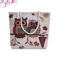Gusure Vintage Owl Printed Bags for Women Leaves Umbrella Printing Canvas Casual Bag Big Shoulder Bag for Shopping Travel Gifts(China)