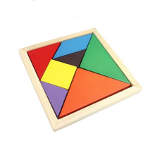 Colorful 3D Wooden Tangram Brain Teaser Puzzle Toys Game Kids Preschool Intellectual Development Toy Wooden Jigsaw Board 2018(China)