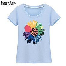 Inngraee 2017 New Fashion sunflower Print Spring Summer T Shirt Women Clothing Tops students T-shirt NS3100