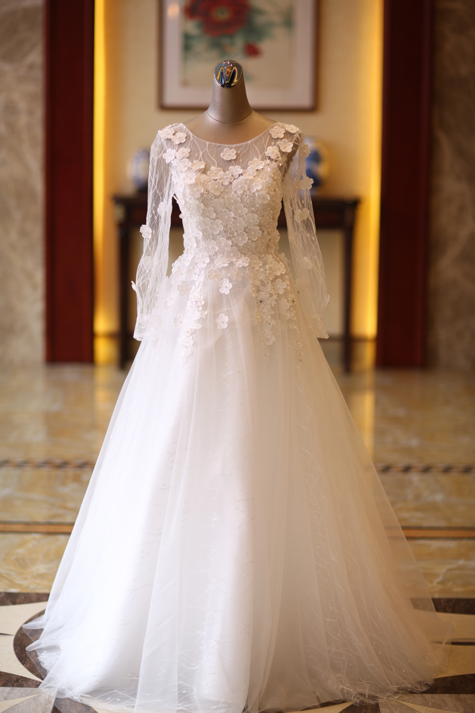 Angel Wedding Dress Marriage Bride Bridal Gown Vestido De Noiva Lace Boat Neck Flower bud silk 2017 6916 18