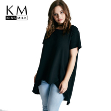 Buy Kissmilk Plus Size New Fashion Women Clothing Casual Solid Black Tops Brief Short Sleeve T-shirt Loose Basic T-shirt 4XL 5XL 6XL for $10.19 in AliExpress store