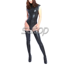 nature latex jumpsuits Teddies Bodysuits for female rubber leotard Black Suit new design 100%(China)