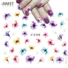1Sheet Purple Fashion Patterns 3d Nail Art Stickers Nail Decals Charms Manicure Colorful Creative Decorations Tools LAE308