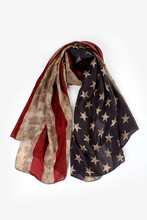 [Visual Axles] Fourth July American Independence Day Womens' Vintage Printing American Flag Scarf