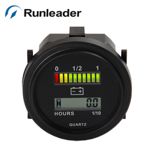 ROUND 3 color 12 24 36 48 72V LED Battery Indicator and hour meter for golf carts scooter motorcycle MARINERL-BI004(China)