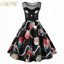 ISHINE vintage 1950s Retro Hepburn Style Print Cat Lace Slim Waist Flare Dress women cute party dress sleeveless elegant dress(China)