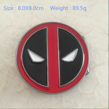 Retail & Wholesale 2015 New Arrival Hot Selling Cool Red Fashion Deadpool belt buckle Classic Men's Metal Belt Buckle Cosplay