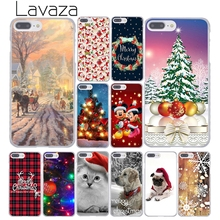 Lavaza happy New Year merry Christmas Tree Snow Flakes Hard Cover Casefor Apple iPhone 8 7 6 6S Plus X 10 5 5S SE 5C 4 4S