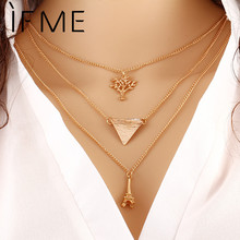 IF ME Hot Summer Style Chain Geometric Cross Necklaces Leaf  Eye Multilayer Infinity Bohemia Bead Double Chain Necklace Women