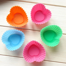 1 PCS heart style cooking tools fondant mini cake mold six Silicone Muffin Cake Cupcake Cup Cake Mould Case Bakeware Maker Mold