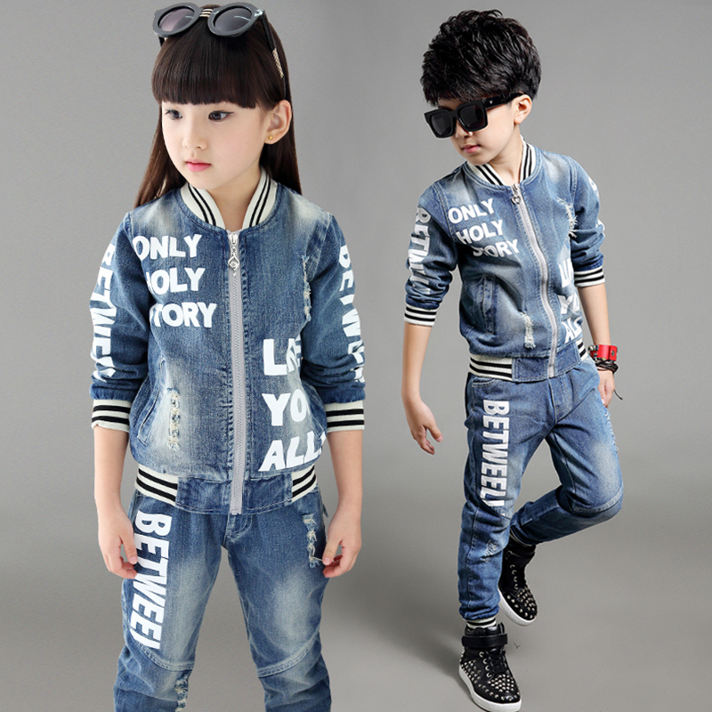 Free shipping new arrival spring/autumn boy/girl jeans clothing set 100% cotton two pieces jacket+pants leisure suit<br>