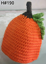 Halloween New arrivals 100% cotton crochet PUMPKIN hats in orange for kids and Toddlers Birthday Gift