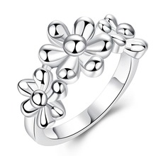 Ladies Silver Flower Ring China Jewelry Wedding Flowers Rings Unusual Valentine'S Day Gifts For Women SPCR759