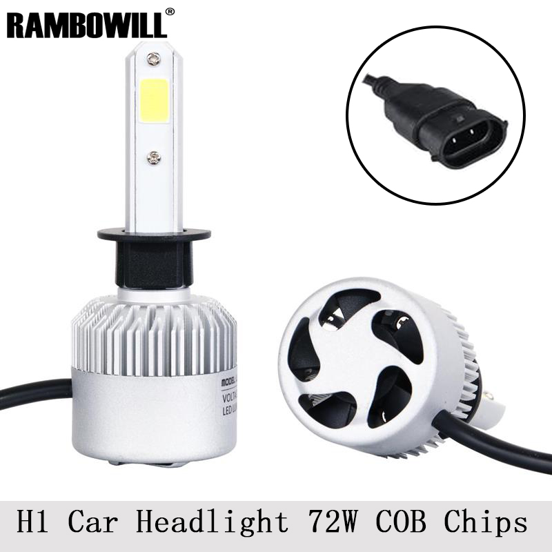 Rambowill Car Led H1 Headlight Bulbs 72W 6500K 8000Lm COB Chips All-In-One Headlamp Kit Auto Led Front Fog Light DC 12/24V<br><br>Aliexpress