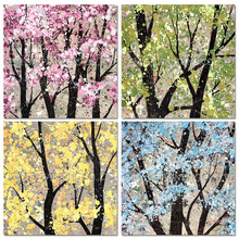 High Skills Artist Handmade Season Trees Oil Painting on Canvas Colorful Flower Oil Painting for Living Room Wall Art Pictures
