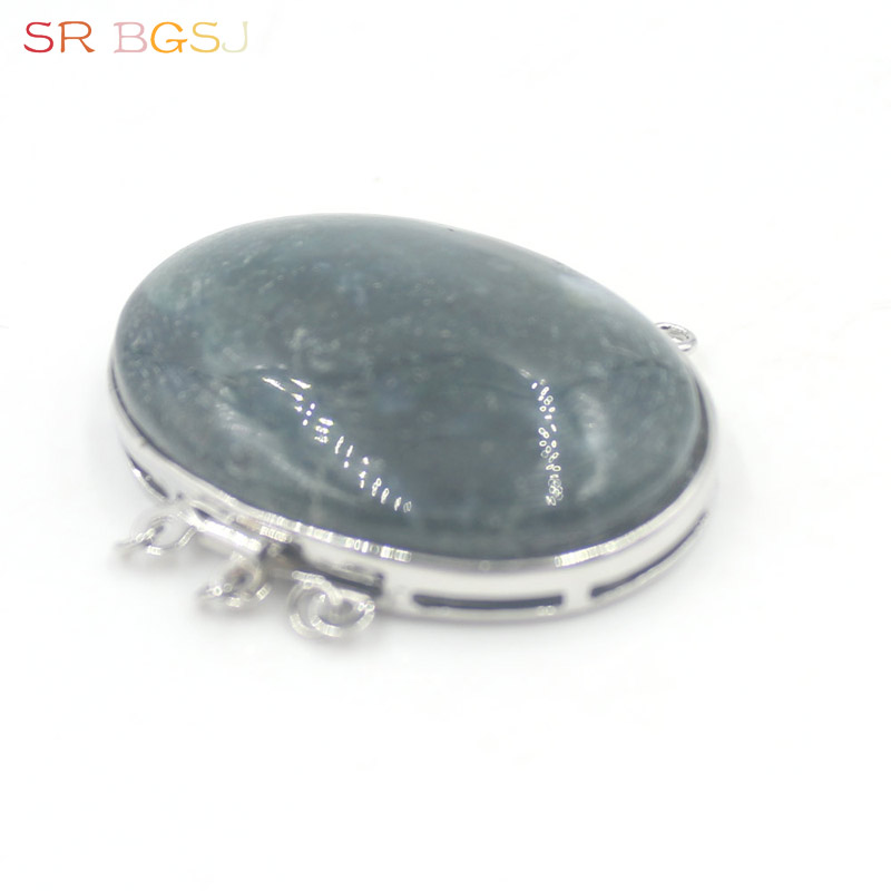 Free shipping 2pcs Jewelry DIY Findings Natural Stone Moss Agate Oval Shape Box Clasp 3 strand 20x39mm|box clasp|diy findingsjewelry diy |