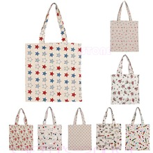 Reusable Cotton Linen Eco Friendly Shopping Bag Grocery Tote Shoulder Handbag
